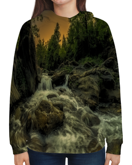 """Толстовка с полной запечаткой """"Природа"""" - природа, лес, озеро, река, закат"""
