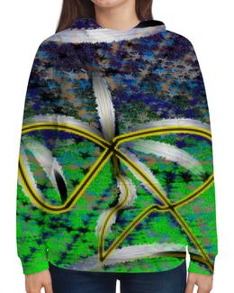 """Толстовка с полной запечаткой (Женская) """"Песочные часы"""" - желтый, зеленый, синий, знак бесконечности, лиф"""