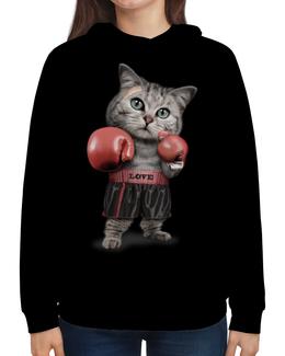 """Толстовка с полной запечаткой """"Кот Боксёр"""" - приколы, спорт, бокс, коты"""