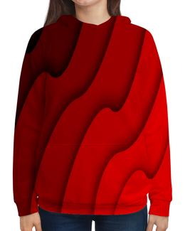 """Толстовка с полной запечаткой """"Красные волны"""" - красный, полосы, волны, текстура, линии"""