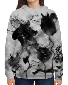 """Толстовка с полной запечаткой """"Черно-белые цветы. Абстракция"""" - цветок, черно-белый, оригинальный, фантазия, дымчатый"""