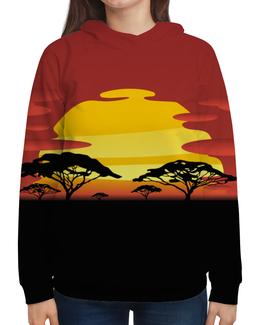 """Толстовка с полной запечаткой (Женская) """"Африка"""" - солнце, африка, графика, закат, саванна"""