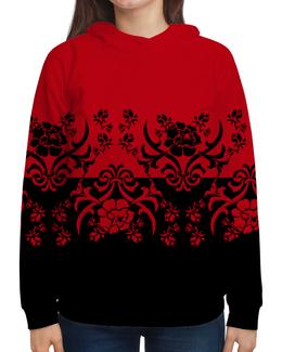 """Толстовка с полной запечаткой (Женская) """"Красно-черный"""" - цветы, узор, черный, красный, орнамент"""