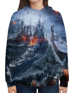 """Толстовка с полной запечаткой """"Корабли"""" - война, море, огонь, самолет, корабль"""