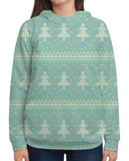 """Толстовка с полной запечаткой """"Елка новогодняя"""" - новый год, узор, зима, снежинки, елка"""