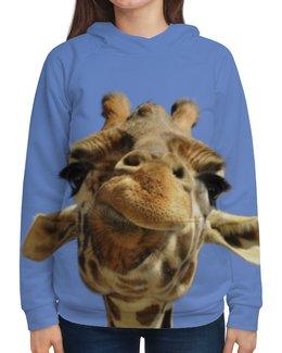 """Толстовка с полной запечаткой """"Жираф"""" - прикол, животные, небо, жираф, морда"""