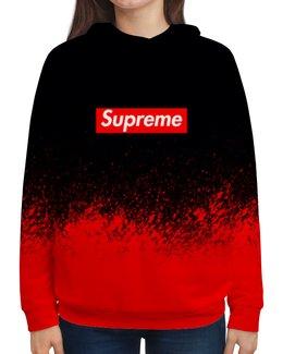 "Толстовка с полной запечаткой ""Supreme (1)"" - red, краска, supreme, суприм, sup"