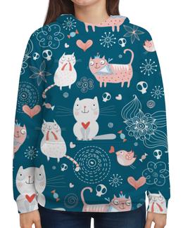 """Толстовка с полной запечаткой """"прикольные коты"""" - кот, cat, котенок, животные, новый год"""