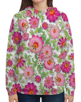 """Толстовка с полной запечаткой """"Розовые цветы"""" - цветы, весна, розовый, узор, цветочки"""