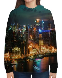 """Толстовка с полной запечаткой """"Ночной город"""" - город, ночной город, здания, огни, дубаи"""