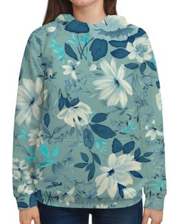 """Толстовка с полной запечаткой (Женская) """"Цветы. Акварель"""" - цветок, белый, голубой, листья, акварель"""