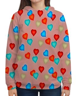 """Толстовка с полной запечаткой """"Сердечки"""" - любовь, сердца, день святого валентина, сердечки, я люблю"""
