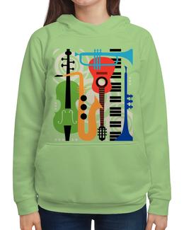 """Толстовка с полной запечаткой """"Музыкальные инструменты"""" - музыка, гитара, скрипка, инструменты, саксафон"""