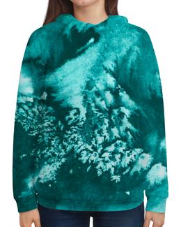"""Толстовка с полной запечаткой (Женская) """"Акварельная изморозь"""" - зима, голубой, акварель, бирюзовый, холодный"""