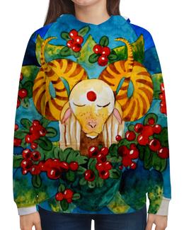 """Толстовка с полной запечаткой (Женская) """"""""Медитирующий барашек"""""""" - голубой, ягоды, акварель, медитация, эзотерика"""