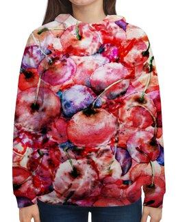 """Толстовка с полной запечаткой """"Вишня россыпью"""" - красный, ягоды, акварелью, вишневый, картина акварелью"""