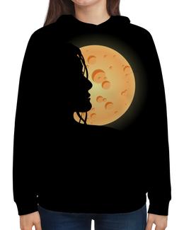 """Толстовка с полной запечаткой """"Look at the moon"""" - любовь, ночь, луна, moon, для влюбленных"""