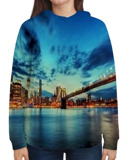 """Толстовка с полной запечаткой """"Бруклинский мост"""" - new york, страны, ночь, города, река"""