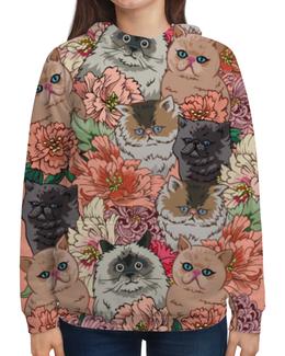"""Толстовка с полной запечаткой """"Коты в цветах"""" - приколы, цветы, коты"""