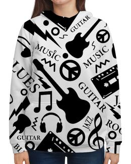 """Толстовка с полной запечаткой """"Музыка"""" - музыка, гитара, наушники, ноты, кассеты"""