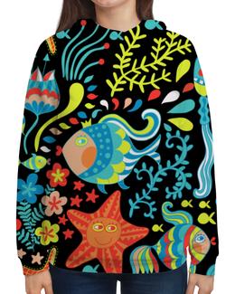 """Толстовка с полной запечаткой """"Обитатели моря"""" - красиво, море, рыбки, водоросли, морская звезда"""