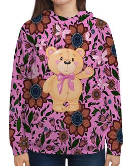 """Толстовка с полной запечаткой """"Мишка и бабочки"""" - бабочки, цветы, медведь, мишка"""
