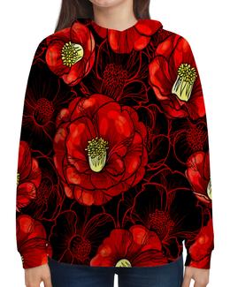 """Толстовка с полной запечаткой """"Цветы мака"""" - цветы, весна, цветные, цветочки, красные"""