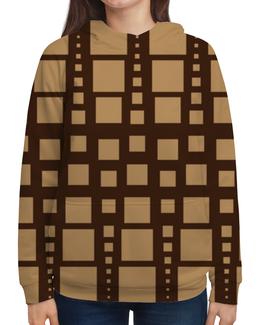 """Толстовка с полной запечаткой """"Геометрия"""" - фигура, треугольник, квадрат, коричневый, размер"""