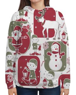 """Толстовка с полной запечаткой """"Эльф и олени"""" - снеговик, снежинки, олени, новый год, дед мороз"""