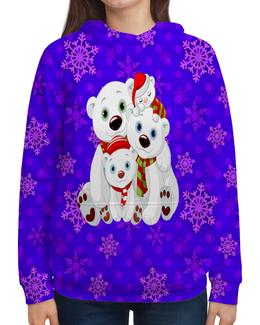 """Толстовка с полной запечаткой """"Белые медведи"""" - животные, медведь, снежинки, белый медведь, полярные медведи"""
