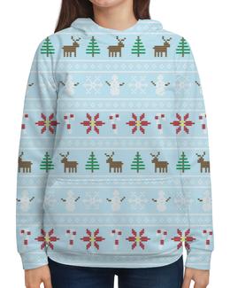 """Толстовка с полной запечаткой (Женская) """"Рождественская сказка"""" - новый год, зима, рождество, олень, елка"""