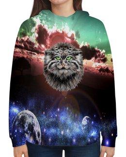 """Толстовка с полной запечаткой """"Кот в космосе"""" - кот, звезды, котенок, космос, коты в космосе"""
