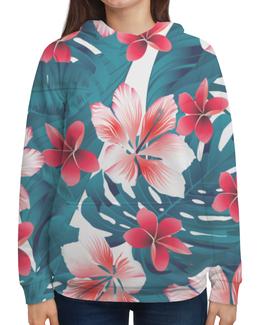 """Толстовка с полной запечаткой (Женская) """"Цветочный узор"""" - цветы, африка, джунгли, бубльгум"""