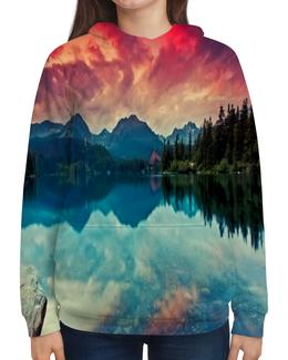 """Толстовка с полной запечаткой """"Природа"""" - деревья, природа, закат, река, озеро"""