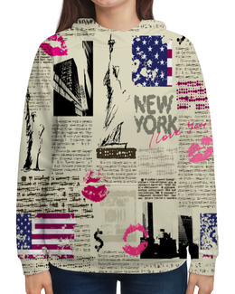 """Толстовка с полной запечаткой """"New York"""" - new york, города, газета, нью йорк, журнал"""