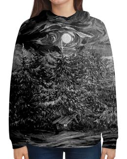 """Толстовка с полной запечаткой (Женская) """"Ночная тайна"""" - черное, лес, сказка, русь, чернобелое"""
