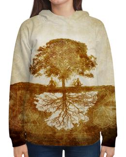 """Толстовка с полной запечаткой """"Between Earth & Sky"""" - дерево, медитация, сакральная геометрия, между небом и землёй, что вверху то и внизу"""