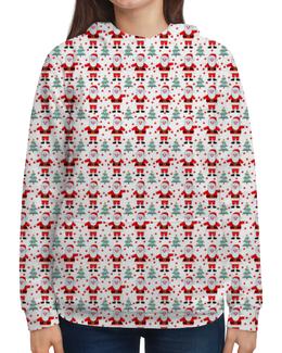 """Толстовка с полной запечаткой (Женская) """"Зимний мотив #6"""" - новый год, зима, дед мороз, санта клаус, елки"""