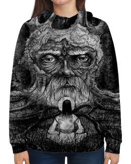 """Толстовка с полной запечаткой (Женская) """"Последний вопрос"""" - черное, дерево, русь, медитация, славянизм"""