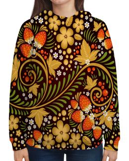 """Толстовка с полной запечаткой """"Ягоды"""" - цветы, узор, лес, ягоды, клубника"""