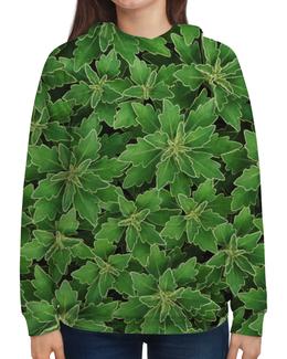 """Толстовка с полной запечаткой (Женская) """"Зеленые листья"""" - белый, лист, зеленый, куст, окантовка"""