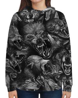 """Толстовка с полной запечаткой """"Волчий оскал """" - ужасы, оборотень, волки"""