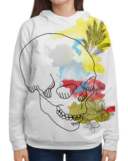 """Толстовка с полной запечаткой """"Череп Акварель"""" - череп, цветы, рисунок, кляксы, акварель"""