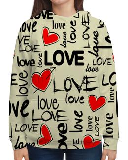 """Толстовка с полной запечаткой """"Любовь"""" - любовь, сердце, i love you, надписи, день святого валентина"""