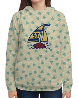 """Толстовка с полной запечаткой (Женская) """"Кораблик"""" - кораблик, море, рыба, яхта, парус"""