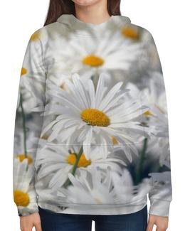 """Толстовка с полной запечаткой (Женская) """"Ромашки"""" - цветы, цветок, белый, ромашка, желтый"""