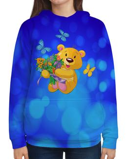 """Толстовка с полной запечаткой """"Мишка и букет"""" - бабочки, цветы, медведь, мишка, игрушки"""