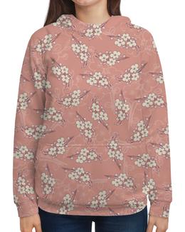 """Толстовка с полной запечаткой """"Цветы"""" - цветок, вишня, сакура, цветение, ветка"""