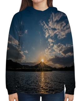 """Толстовка с полной запечаткой """"Закат """" - солнце, море, природа, закат, горы"""