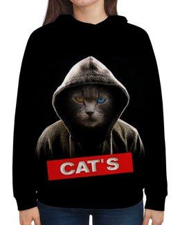 """Толстовка с полной запечаткой """"Кот в капюшоне"""" - кот, кошка, животные, котенок"""